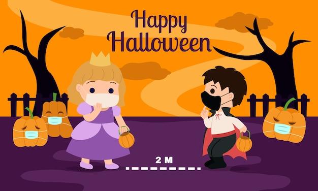 Счастливого хэллоуина с советами по социальному дистанцированию для детей. мальчик и девочка держатся на безопасном расстоянии и носят защитную маску. детский мультфильм с жутким фоном. Premium векторы