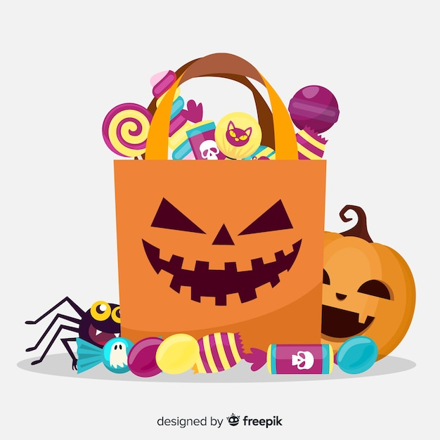 Happy halloween with sweets in a paper bag Free Vector