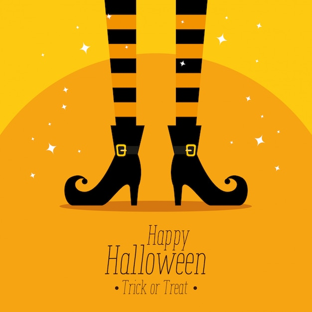 Happy halloween  with witch feets Free Vector