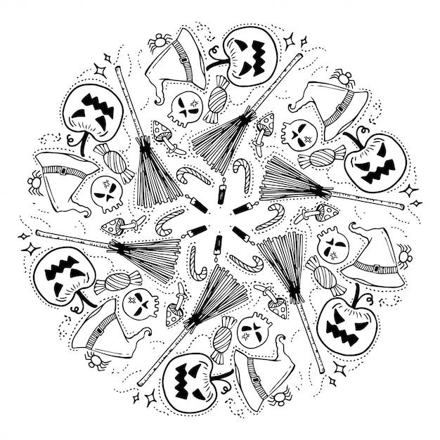 Happy halloween wreath. doodles style. Premium Vector