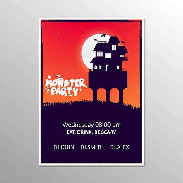 Happy Halloween Zombie Party Invitation Card Design Vector