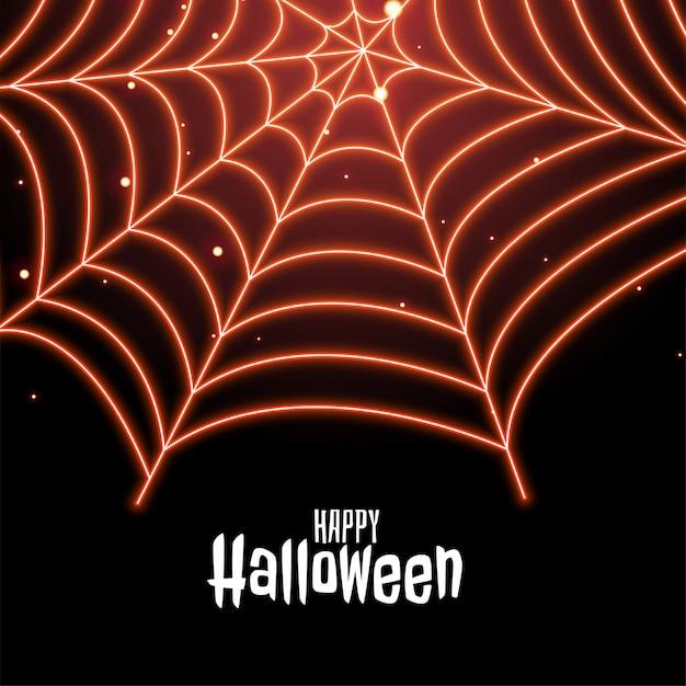 Паутина в неоновом стиле happy halloween иллюстрации Бесплатные векторы