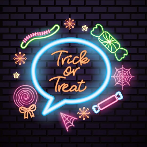Happy halloween неоновая вывеска Бесплатные векторы