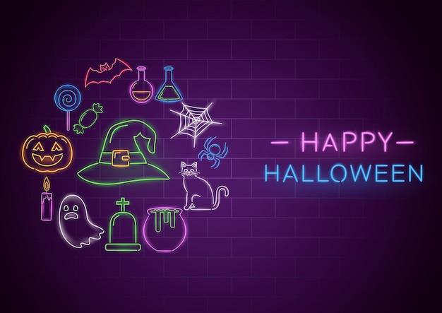 Happy halloween неоновый баннер Premium векторы
