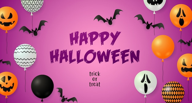 Happy halloween открытка с летучими мышами и воздушными шарами Бесплатные векторы