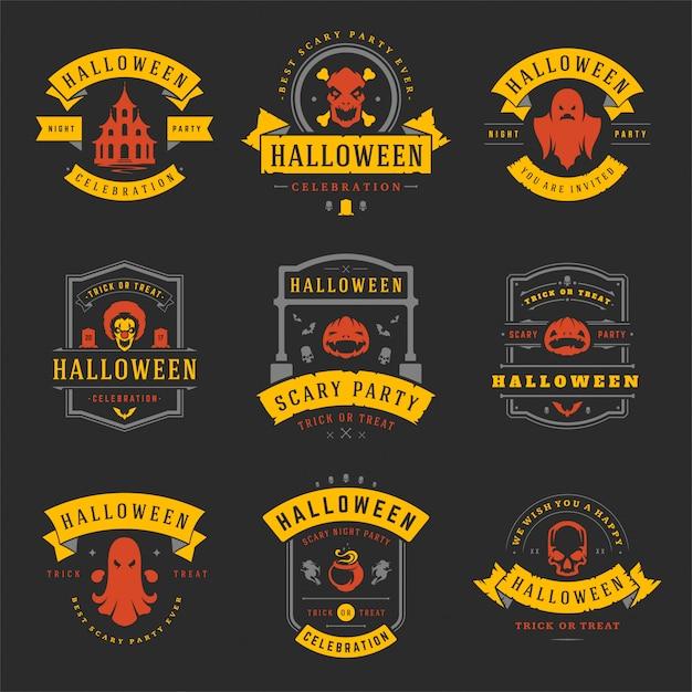 Happy halloween этикетки и значки установлены Premium векторы
