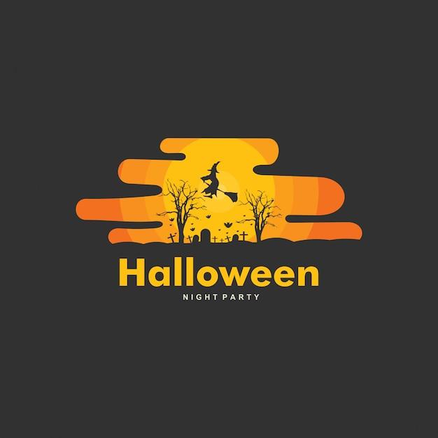 Счастливый хэллоуин дизайн шаблона логотипа Premium векторы