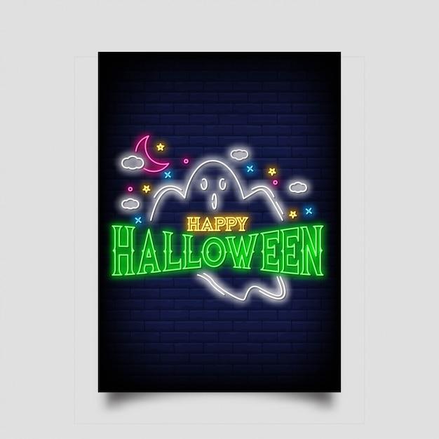 Happy hallowen neon signs style Premium Vector
