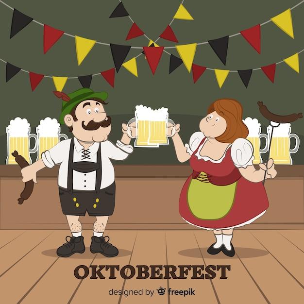Happy hand drawn people celebrating oktoberfest Free Vector