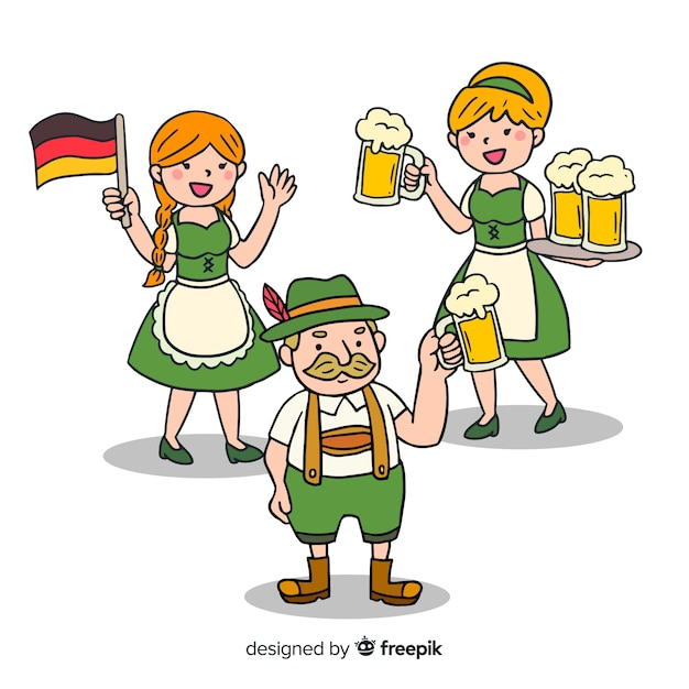 Happy hand drawn people celebrating oktoberfest Free Vector