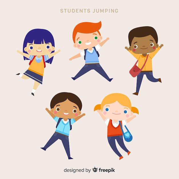 행복 한 손으로 그린 학생 점프 무료 벡터
