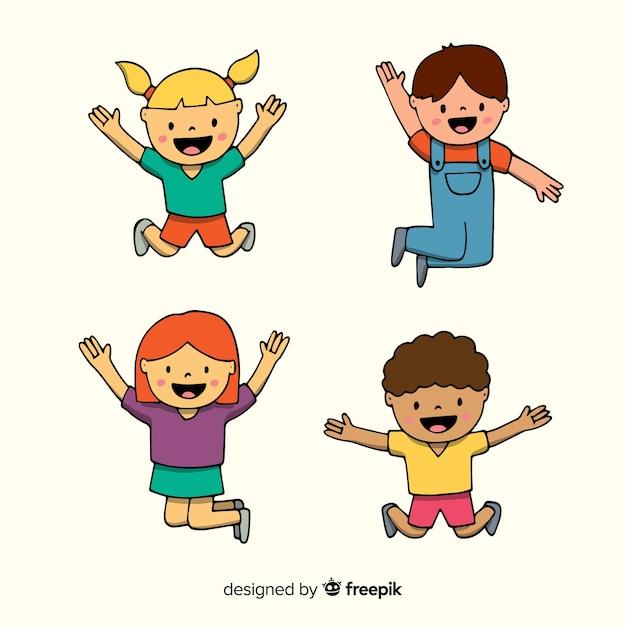 Happy hand drawn students jumping Free Vector