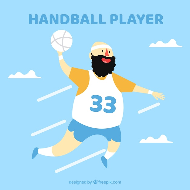 Happy handball player with flat design Free Vector