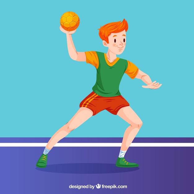 Happy handball player with flat design Free Vector
