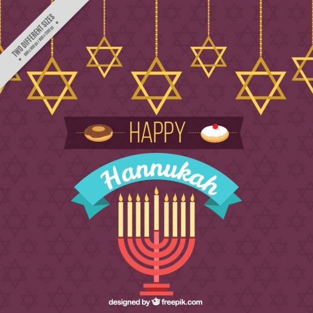 Happy hanukkah background with candelabra and\ stars hanging