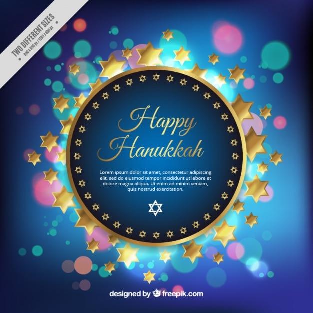 Happy hanukkah background with golden\ stars