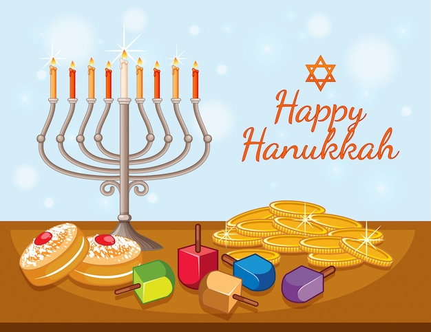 Happy hanukkah card template with candles and coins Premium Vector