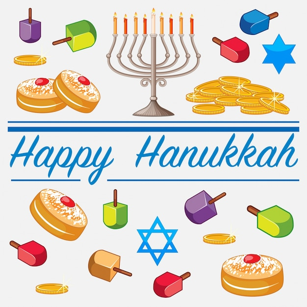 Happy hanukkah card template with food and candles Premium Vector
