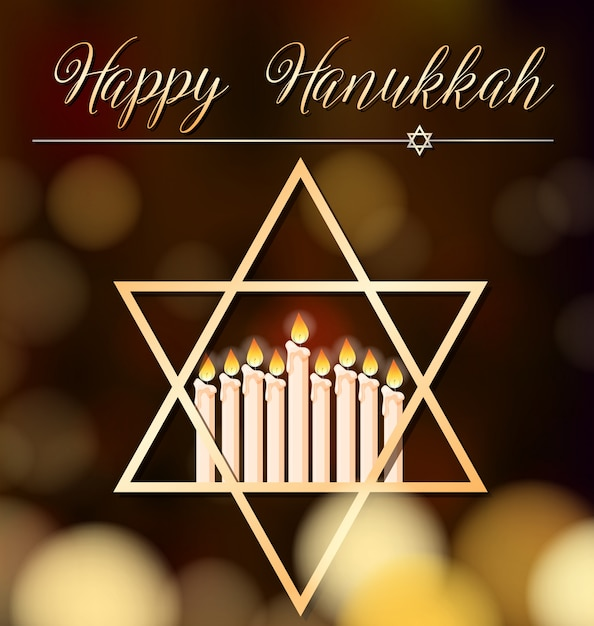 Happy hanukkah card template with light and star symbol Free Vector