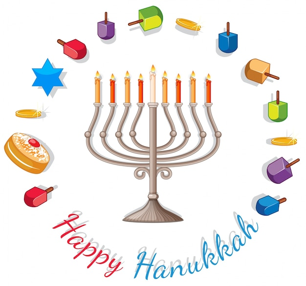 Happy hanukkah card template with lights and decorations Premium Vector
