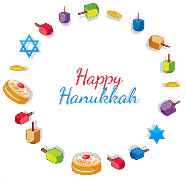 Happy hanukkah card template with toys and donuts Premium Vector