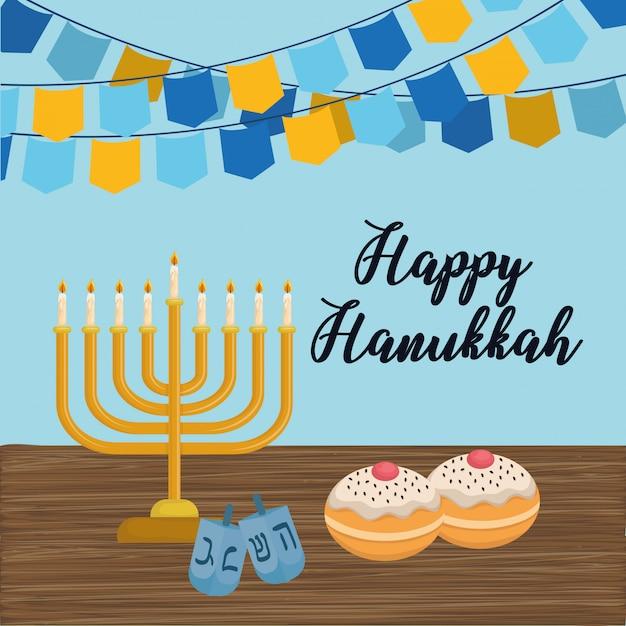 Happy hanukkah card with chandelier Premium Vector
