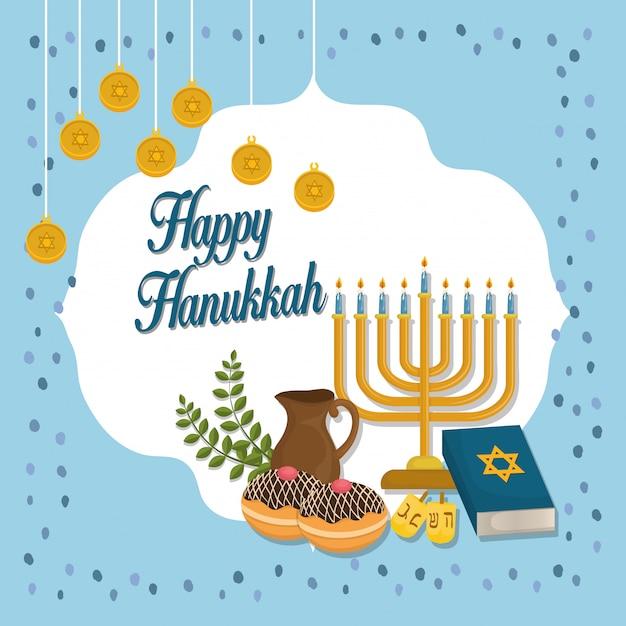 Happy hanukkah celebration icons Premium Vector
