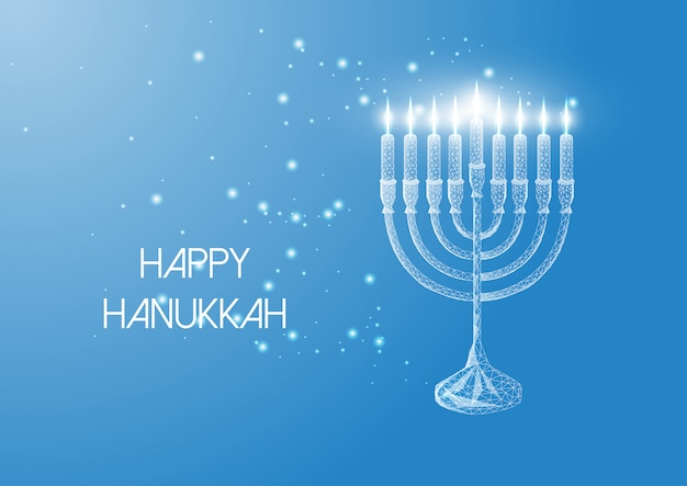 Happy hanukkah greeting card with glowing low poly menorah and burning candles on blue . Premium Vector