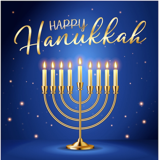 Happy hanukkah greeting card with gold inscription and golden realistic menorah Premium Vector