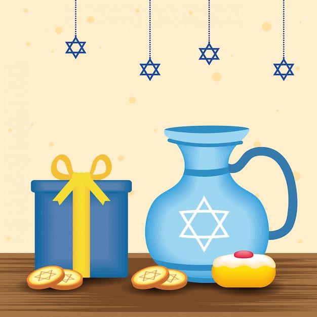 Happy hanukkah illustration with teapot and food sweet Premium Vector