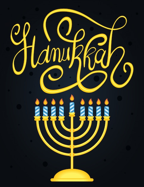 Happy hanukkah lettering with chandelier Free Vector
