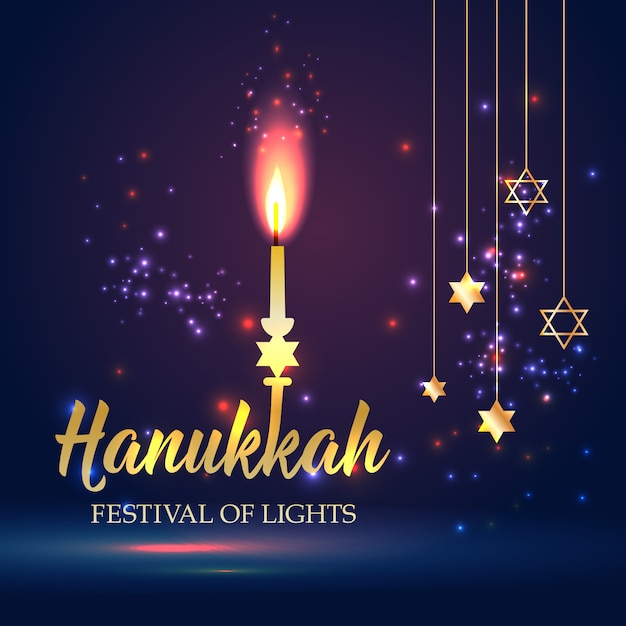 Happy hanukkah shining background with candle, david star and bokeh effect. Premium Vector