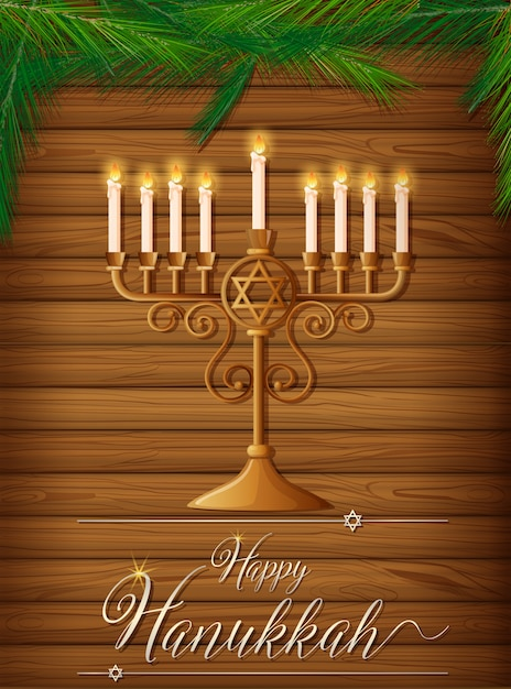 Happy hanukkah with candles and pine Premium Vector