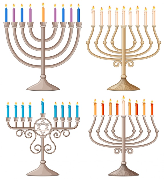 Happy hanukkah with different designs of candle holders Premium Vector