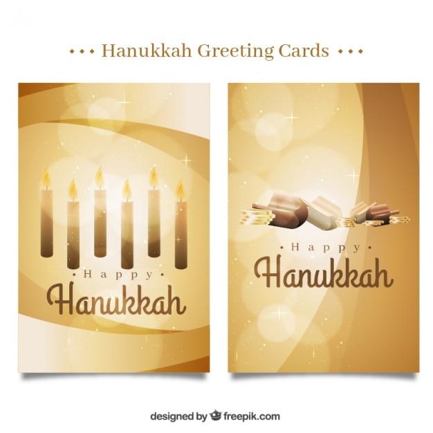 Happy hanukkah with fantastic golden\ cards