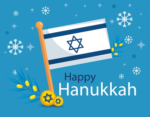Happy hanukkah with flag israel Premium Vector