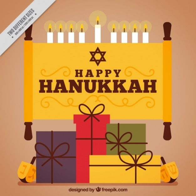 Happy hanukkah with gifts and candles in flat\ design