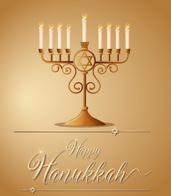 Happy Hanukkah With Jewish Symbol And Light Vector Premium Download