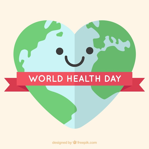 happy heart background for world health day vector free