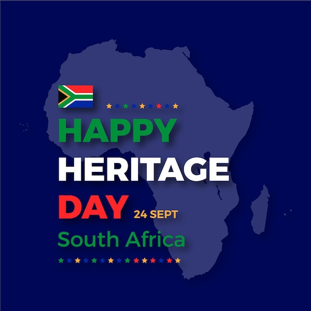 Happy heritage day with map of africa Free Vector