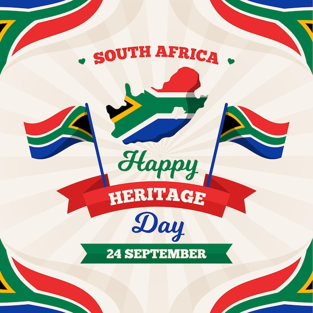 Happy heritage day with map and flag Free Vector