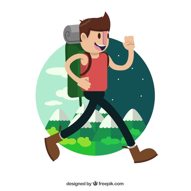 Happy hiker traveling around the world Free Vector