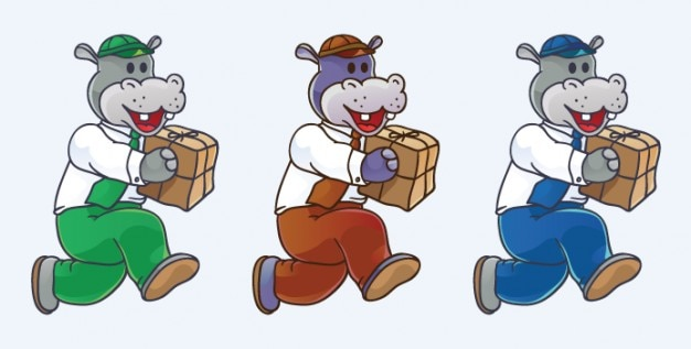 Happy hippo with delivery package