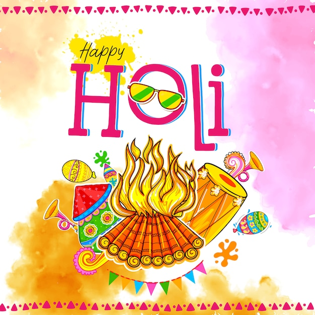 Happy hoil background for festival of colors in india. Premium Vector