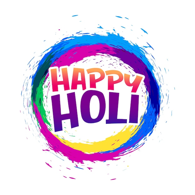 happy holi abstract colorful frame background Free Vector