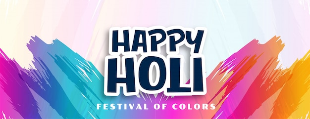 Happy holi abstract colors strokes background Free Vector