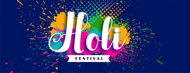 Happy holi abstract festival colorful background Free Vector