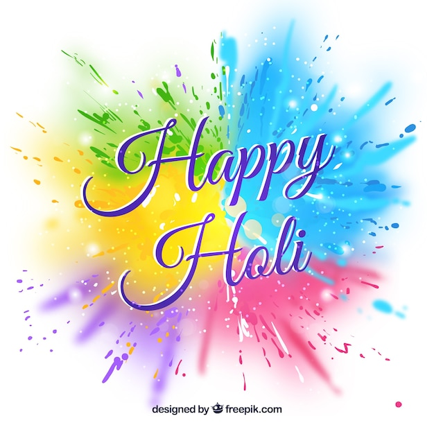 Happy Holi Background In Flat Design Vector Free Download