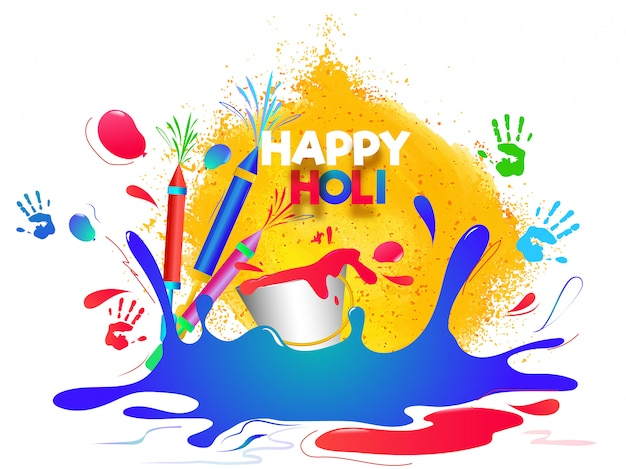 Happy holi background with color splash, color guns and bucket i Premium Vector