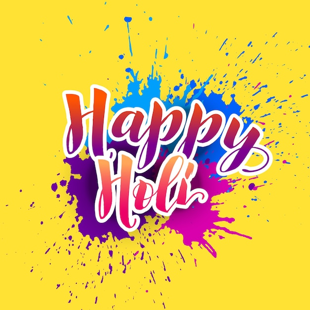Happy Holi Background With Colorful Splash Vector Free Download